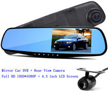 4.3 inch LCD Screen HD Dual Lens Car Camera Video recorder Dash Cam Rearview Mirror Right Support Night Vision Car Black Box(China)