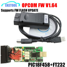 2017 Newest Firmware V1.64 Stable PIC18F458 Chip For Opel Opcom USB CAN-BUS Support FW Flash Update OP COM OP-COM Opel/SAAB
