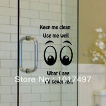 Funny glass wall decal stickers , family toilet bathroom glass door window glass decorative removable vinyl wall stickers