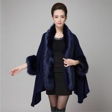 2017 new Luxurious elegant Imitation fox fur cape bat sleeve knitted Cardigan shawl women fur coat for autumn winter,5 colour(China)