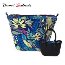 Leaves Classic Mini Size Canvas insert interior Inner Lining Zipper Pocket for obag o bag silicon bag handbag accessories