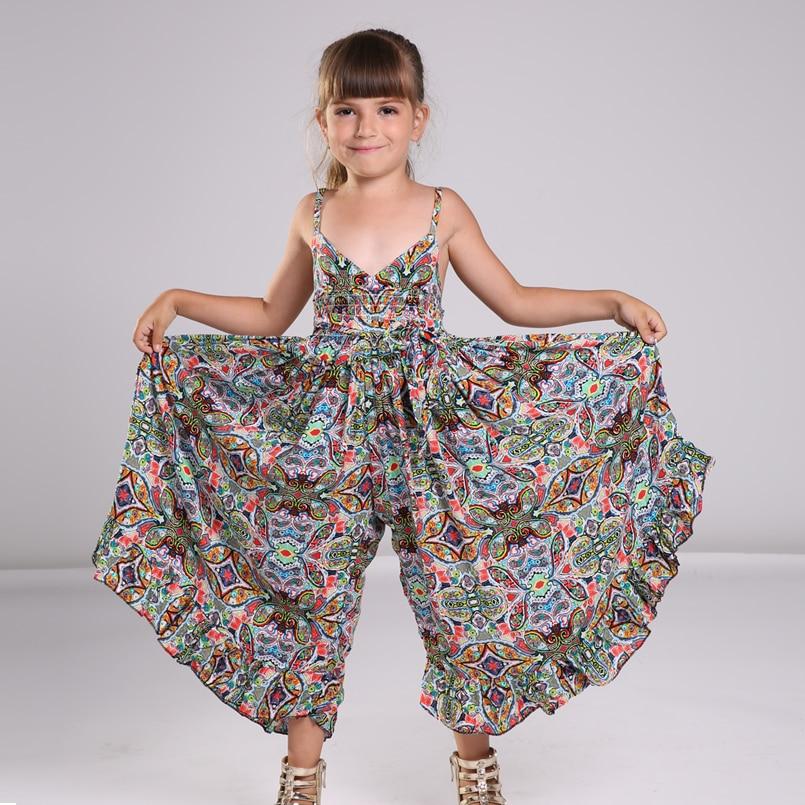 Bohemian Dress for Girls Fashion Print Clothing Children Summer Beach Dress Floral V-neck Sleeveless Dress Jumpsuits Maxi Dress<br><br>Aliexpress