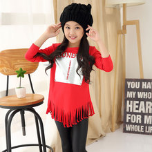 2017 spring fall hot children's cotton T-shirt 4-9-year-old letters printed tassel girls sweater children's bottoming shirt