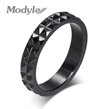 Mordern black angular rings for women titanium steel bright rings men ring jewelry(China)