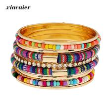 xiacaier Bohemian Beads Bangle Set For Women Candy Enamel Gold Color Bangles Sets Charm Multilayer Bracelets & Bangles Pulseras(China)