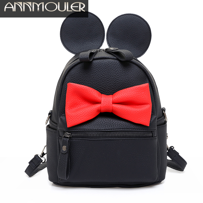 Annmouler Women Pu Leather Backpacks Small Backpack for Girls Cartoon Mini School Bag for Teenagers Mouse New Style Shoulder Bag<br><br>Aliexpress