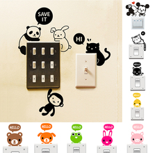 1pc Big Promotion Wholesale 28 Styles Cartoon Animal Cat Dog Panda Mouse Home Decor Switch Sticker Wall Stickers for Kids Room