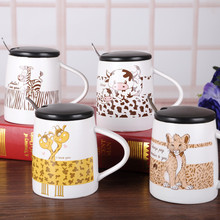 Designs large Creative fashion gift cute carton animal cow zebra leopard giraffe ceramic cup with lid spoon coffee tea milk mug(China)