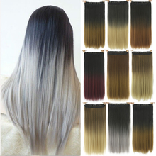 60cm Grey Hair Extension Heat Resistant Synthetic Hair Clip In Hair Extensions Black To Gray Women Hair Piece(China)