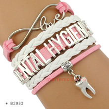 (10 PCS/lot) Infinity Love Dental Hygienist Tooth Charm Multilayer Bracelets Pink White Suede and Leather Bracelets