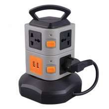 Smart Electrical Plugs Power Socket Plug 7 Outlet 2 USB Ports 2 Layer Socket Surge Protector Power Board 2500W EU Plug