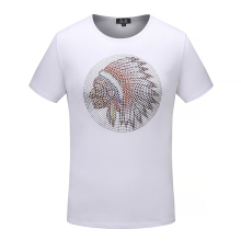2018 Summer Mens 100 Cotton T Shirts Metal Embossed Indian Avatar Brand Clothing For