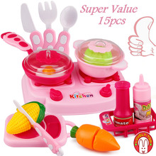 Lovely Too 15pcs Kitchen Cooking Toys Olastic Food Fruit Vegetable Cutting Tiny Toy Pretend Play Set For Girls