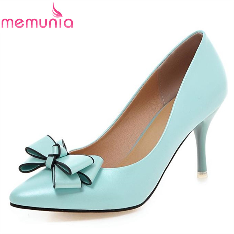 MEMUNIA stiletto high heels large size 33-43 high quality soft leather women pumps pointed toe bowtie sweet pink party shoes<br><br>Aliexpress