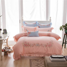 4/7pcs Egyptian cotton flowers Embroidery luxury bedding sets queen king size duvet cover bed sheet set,bed set bed linen(China)