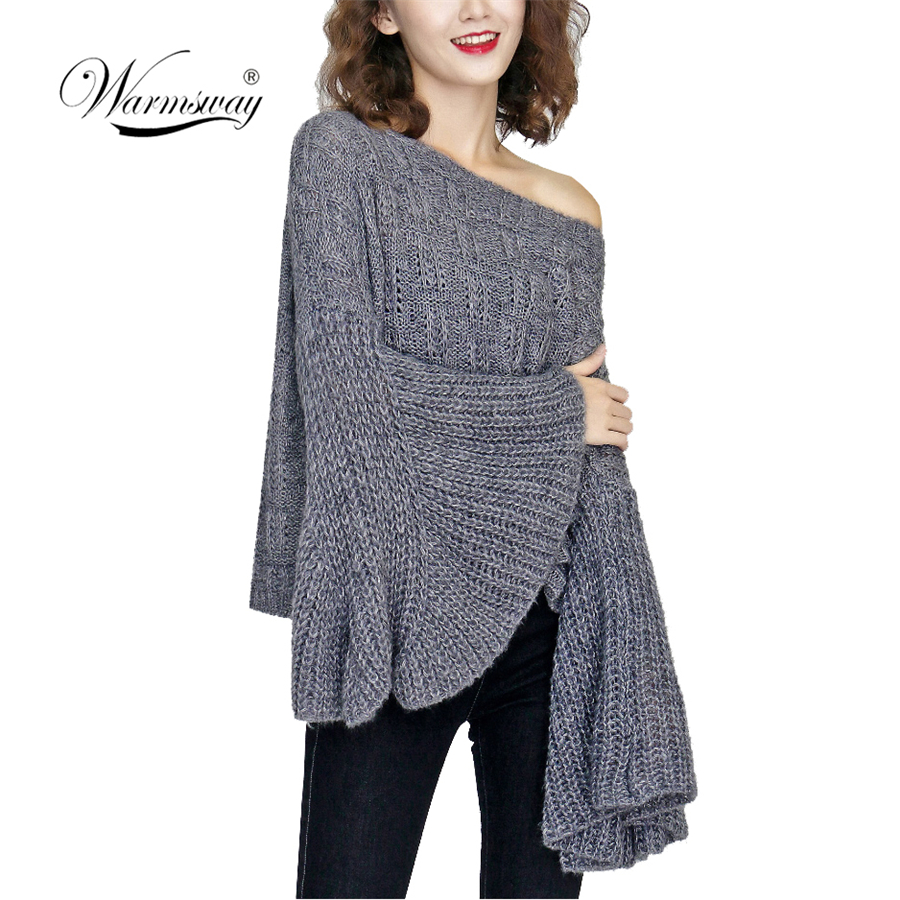Autumn Winter Sweater Women 2019 Casual Hollow Out Full Flare Sleeve Crocheted Sweaters Tops Female Solid Thin Sweater C-397