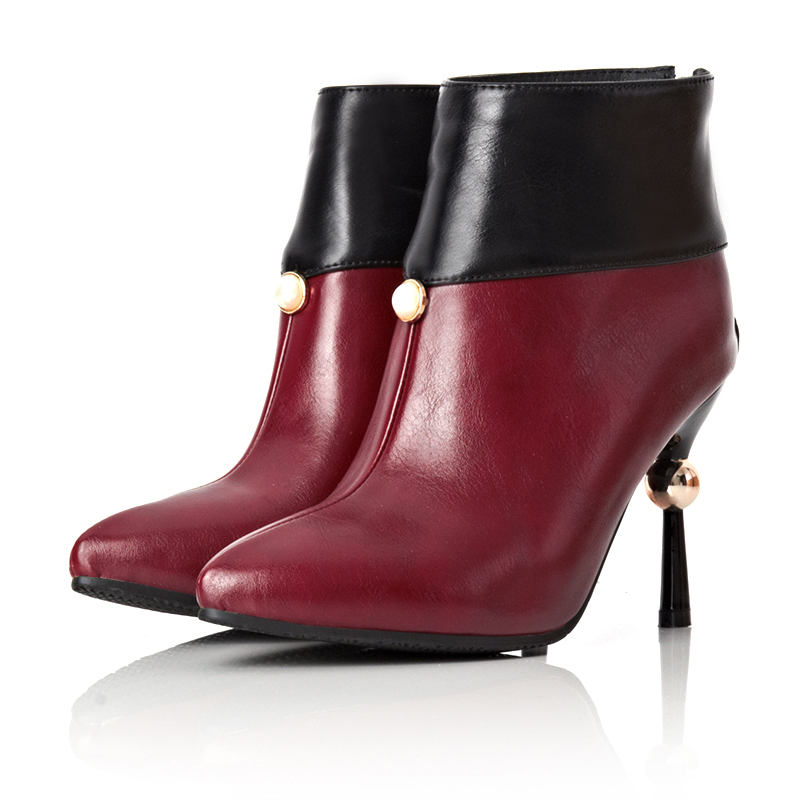 NEW Fshion Plus Size Women Ankle Boots Sexy Pointed Toe Genuine Leather Zapatos Mujer Zipper Glitter Pearl Thin Heels   <br><br>Aliexpress