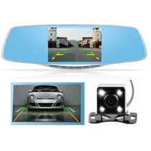 "4.3""LCD Car DVR Rearview Mirror Camera Full HD 1080P Dual Lens Video Registrator Night Vision With Parking Camera Dahshcam"