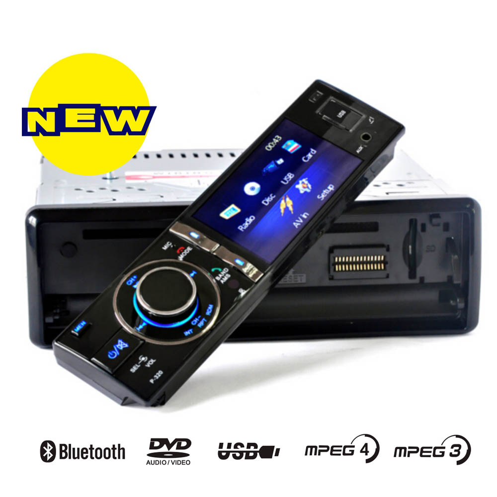 1din detachable bluetooth car DVD CD MP4 MP3 USB SD stereo radio player with 3.5 TFT screen rear view camera 4X50W output power<br><br>Aliexpress