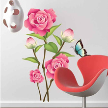 Big Discount On Sale! 1 Piece Big Pink Flowers Wall Sticker/Vinyl Wall Decals 60*80cm Home Art Decor Mural For Bedroom AY713(China)