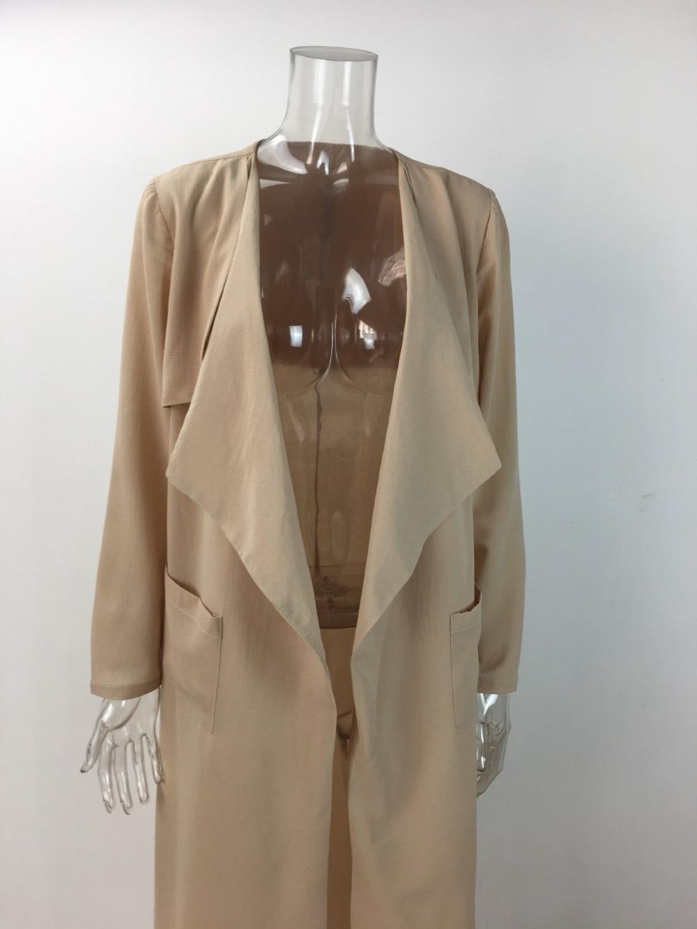 2018 herbst Revers Langarm Tasche Lange Split Mantel Frauen Strickjacke Windjacke Longline Cape-Party Fasion Blaze