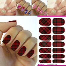 New Nail Art Sticker 1 Sheet Nail Water Decals Fantasy Red Plaid Vintage Transfer Sticker DIY Pedicure Manicure Nail Tattoo 2017