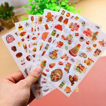 6Pcs/Pack New Creative Delicious Food PVC Cartoon Diary Sticker Scrapbook Decoration PVC Stationery Stickers H1772