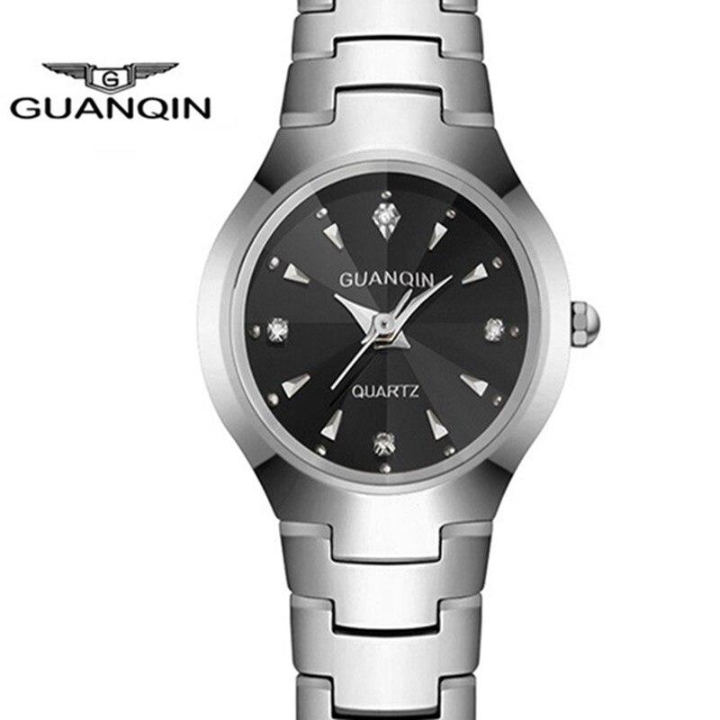 Tungsten Steel Women Watches Bracelet Watch Ladies GUANQIN Quartz Watch Square Female Rhinestone Womens Wristwatches Clock<br>
