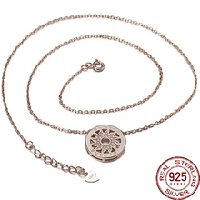 Aceworks Necklace Sun Retro Round Hollow Flowers 925 Sterling Silver Pendents Necklace for Women Jewelry Vintage Style