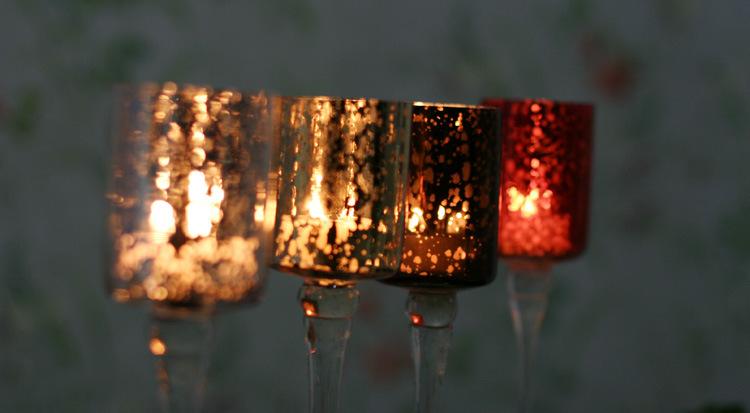 Hot Sell Mosaic Glass Candlestick Romantic Wedding Gauges European Candlestick Ktv Bar Creative Fashion Simple Home Decoration 4