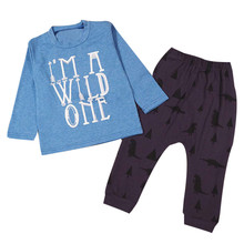 Outerwear Printed Thick Princess Warm 1Set Infant Baby Boys Girls Letter Print T-shirt Tops+Pants Outfits Clothes Blue 24M 2T 2Y