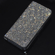 New Luxury Bling Rhinestone Diamond for iPhone 7 7plus 6 6s Plus 5.5 inch 5g 5S SE Flip wallet Leather case cover phone cases(China)