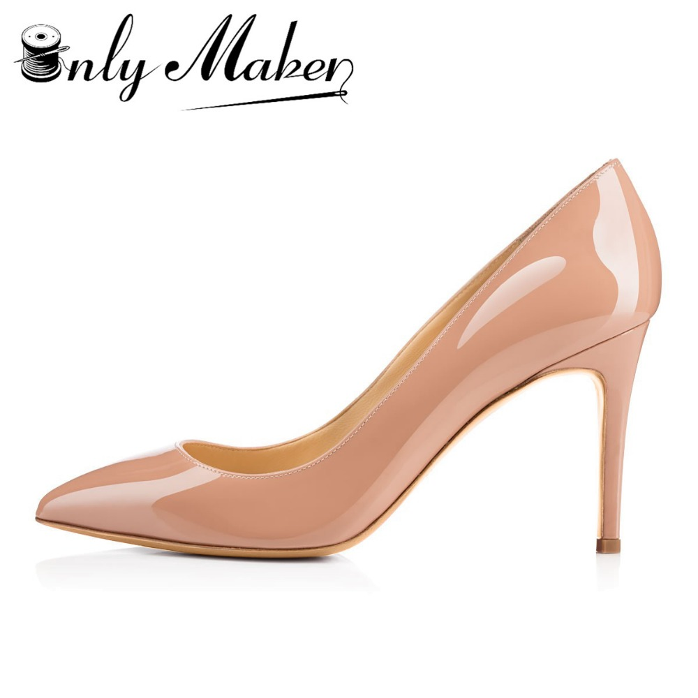 Onlymaker 3.5 Inches 8.5cm Thin High Heel Womens Pumps Shoes Sexy Pointed Toe Wedding Shoes Party Pumps patent leather Shoes<br>