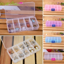 Top Grand 10 Grids Adjustable Jewelry Beads Pills Nail Art Tips Home Organize Storage Plastic Box Case New(China)
