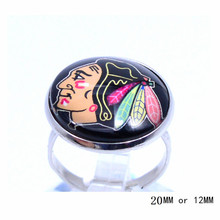 Chicago Blackhawks Ring Ice Hockey Charms NHL Sport Jewlery Round Glass Dome Silver Plated  Ring For Women Girl Adjustable