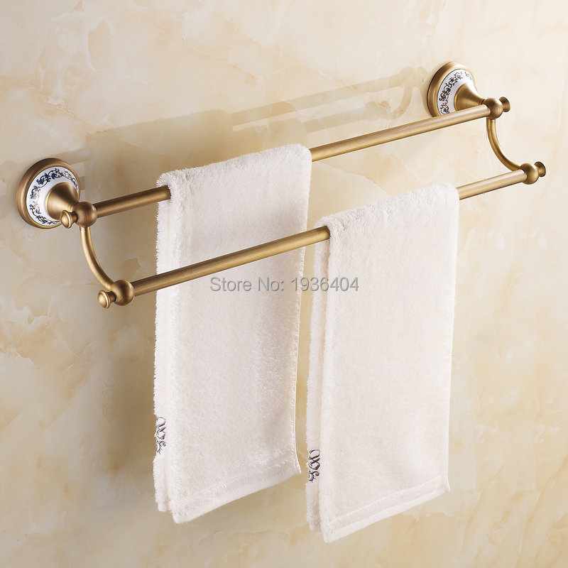 Wholesale Retail Antique Bronze 60cm Towel Bar with Porcelain Single Towel Rack Wall Mounte Bathroom accessories TR1009<br><br>Aliexpress
