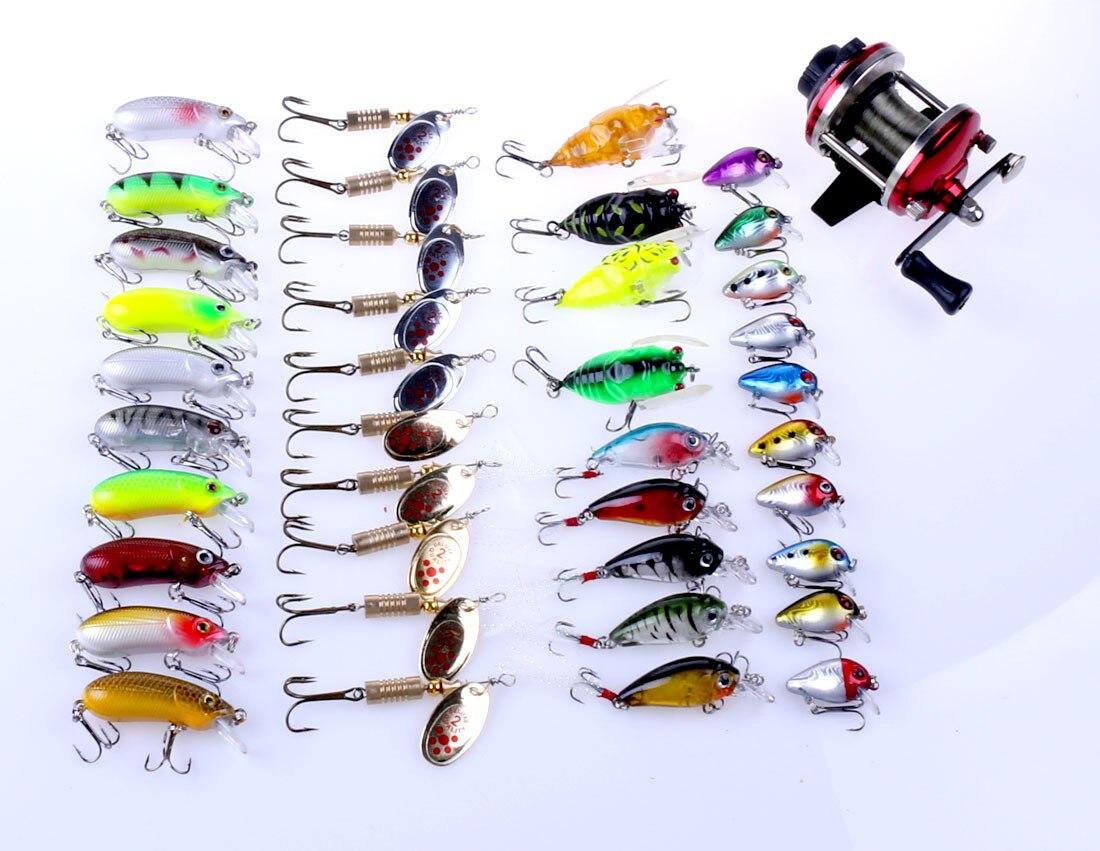 CALOFE 40PCs/Set Combination Fishing Hook Fishing Lure 3D Eyes Hard Baits Fishing Tackle Lure Artificial Bait Crankbait<br>