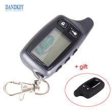 Dandkey LCD Remote Controller For Tomahawk TW9010 Two Way Car Alarm System Russian Tomahawk 9010 keychain Fob With Logo + Cover