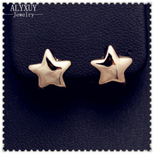 New fashion jewelry cute gold color star stud gift for women girl 1lot=2pairs E2266(China)