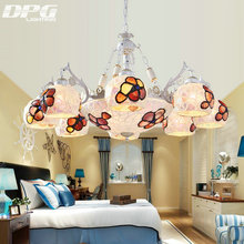 Vintage tiffany style chandeliers lamp with 110v 220v 3 5 6 8 E27 Base lights for living room bedroom(China)