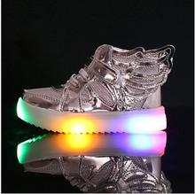 Size 21-36 led sneakers kids Anti-Slip Sports toddler boys girls shoes children lighting shoes Luminous Flasher glowing sneakers