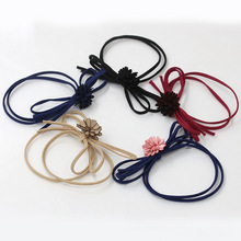5 Fashion Colors Double Elastic Hair Bands Rubber Bands Bows Cloth Floral Daisy Flower Girls Women Headwear