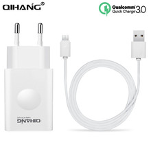 QIHANG USB Charger+Free 1M USB Cable 1Pcs Quick Charger QC3. 0 EU US Plug For Samsung iphone Huawei Xiaomi With Retaill Box