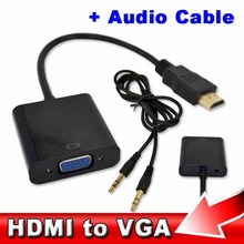 kebidu HDMI to VGA + Audio Cable Male To Female Built-in Chipset 1080p Video Converter For Xbox 360 PS3 Android TV Box Media