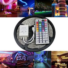 3528 SMD No-Waterproof RGB LED Strip Light DC 12V fite de led 5 meters 60led/m LED Flexible Light Strip with remote controller(China)