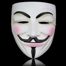 High Quality White Bronze Resin V for Vendetta Mask Halloween Masquerade Prop Anonymous Guy Fawkes Fancy Cosplay Mask(China)
