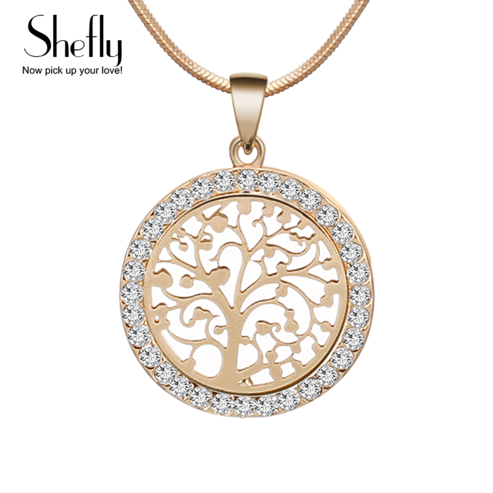 Tree Of Life Pendant Necklace Women Jewelry 2017 Fashion Bijoux Austrian Crystal Gold Color Chain Necklaces & Pendants XL06979(China)
