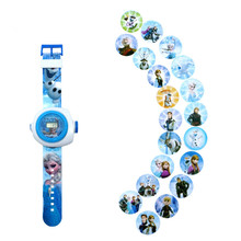 Disney Toys Fashion Cartoon 24 Projection Watch Frozen Elsa Anna And Olaf Led Digital Projector Watches Brand Children Gift(China)
