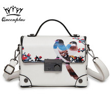 2017 small square package fashion handbag pattern Printed Chinese style bird shoulder bag Messenger bag female tide package