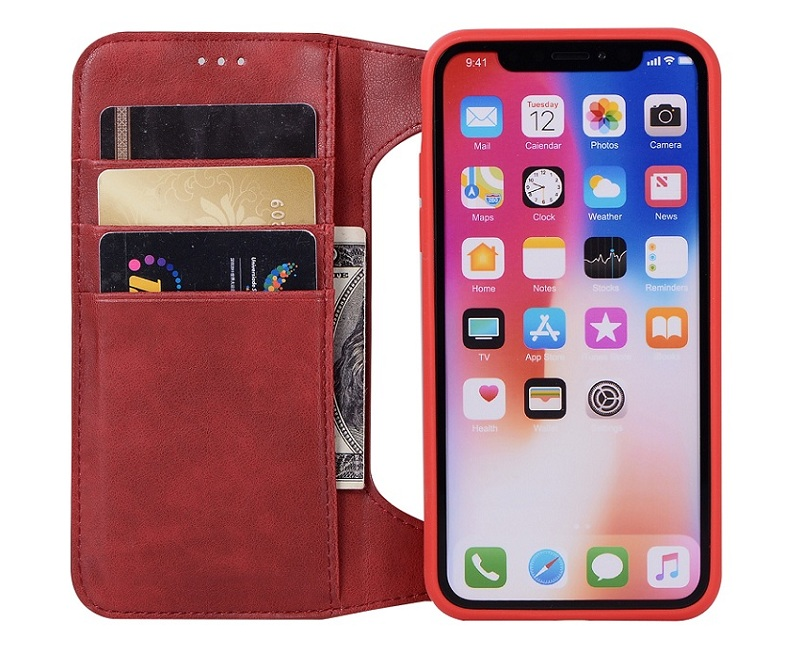 red genuine leather flip case for iPhone x luxury card covers